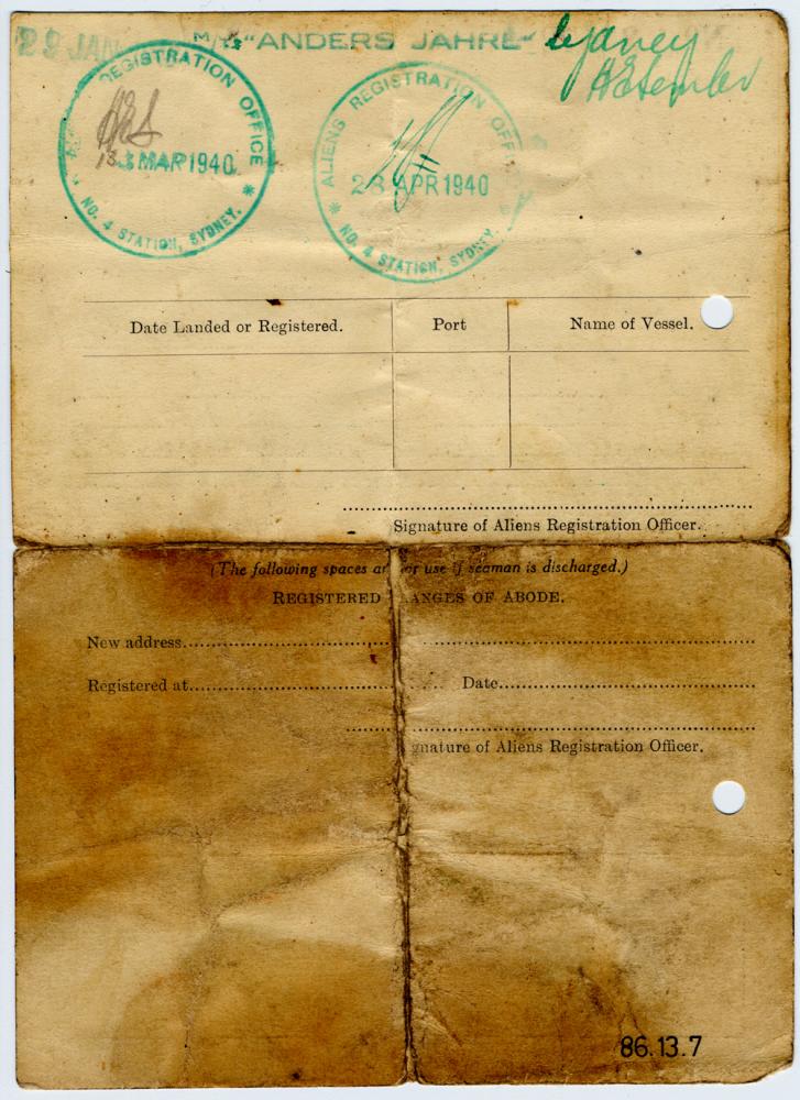 Certificate Of Registration Of Alien Seaman