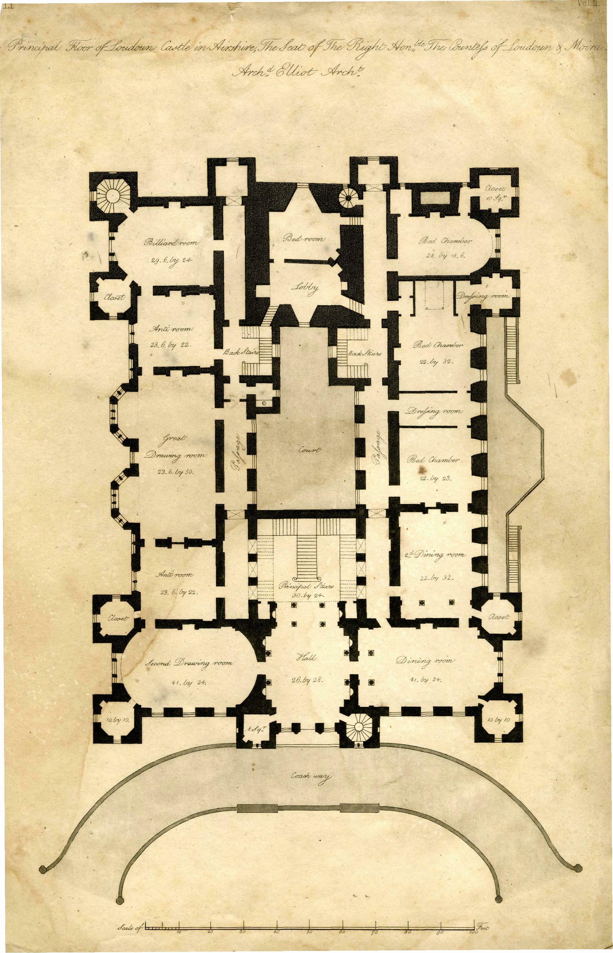 Architect's Plan of Loudoun Castle 1805
