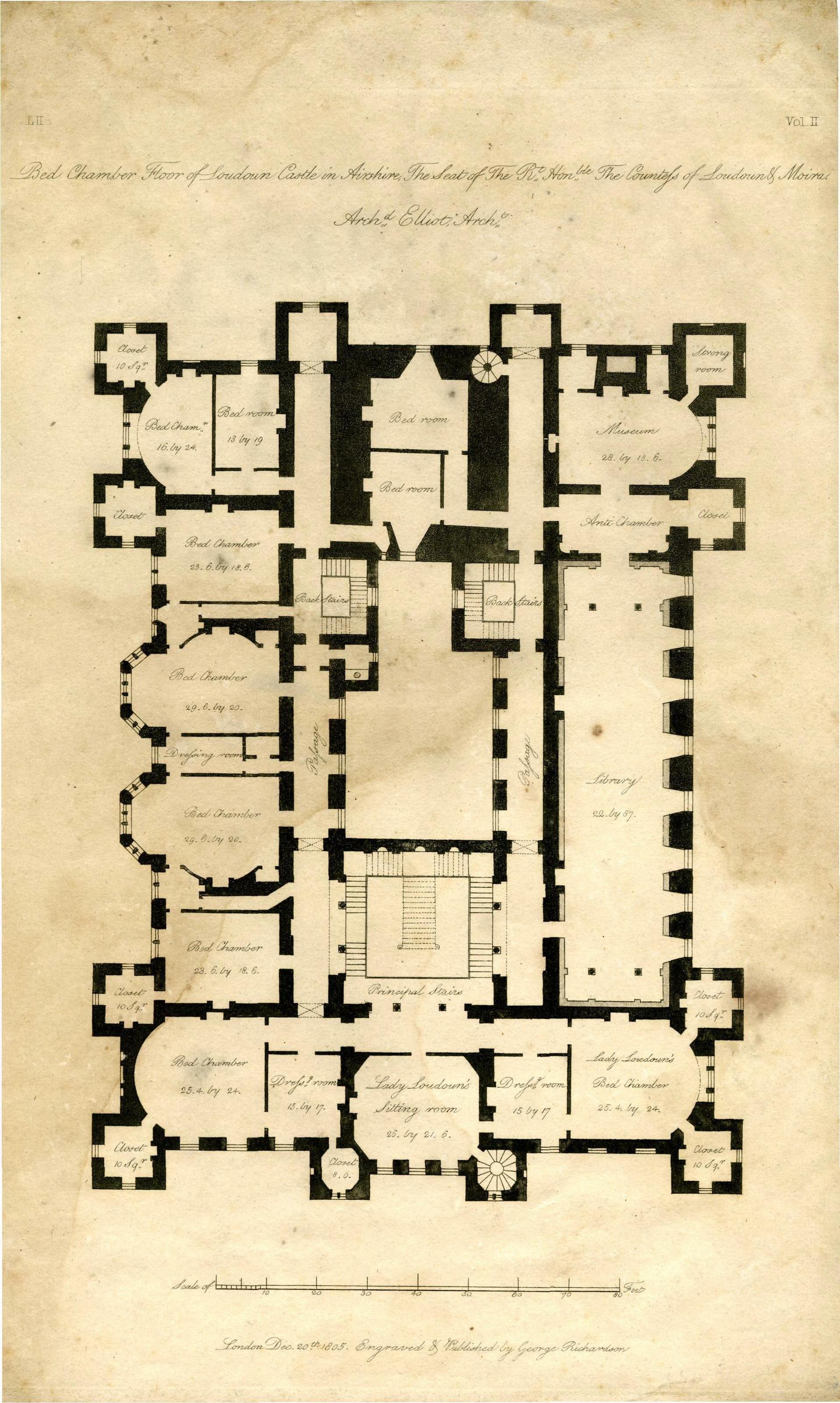 Architect S Plan Of Loudoun Castle 1805