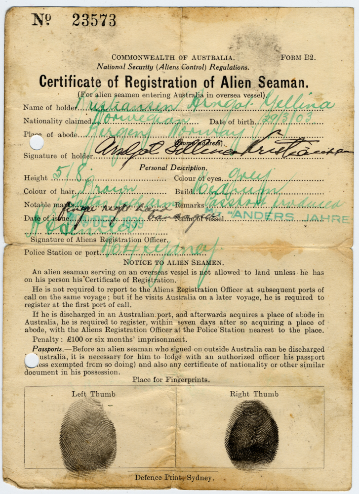 alien registration certificate alternative views decline war